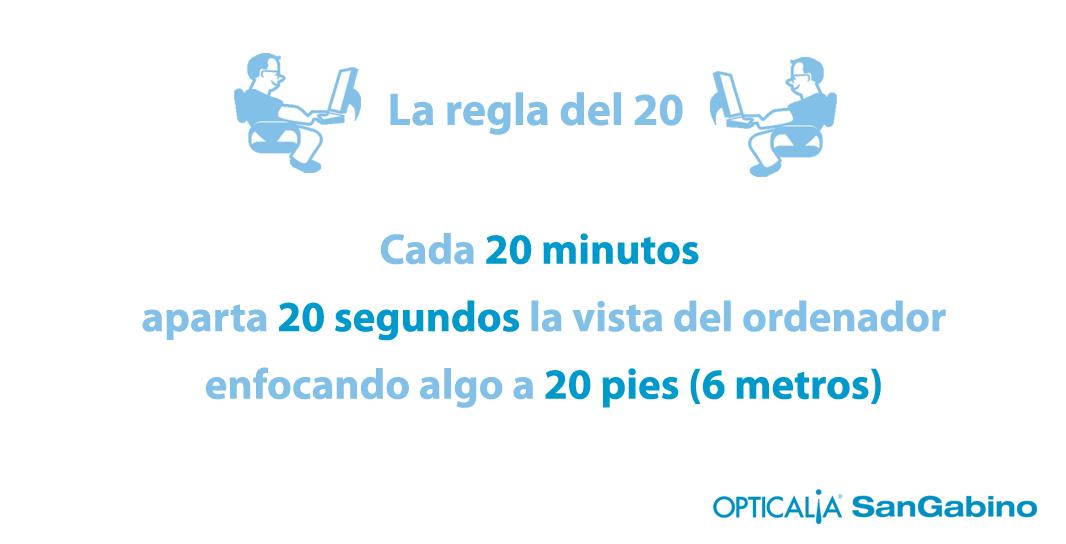 fatiga visual la regla del 20 veinte