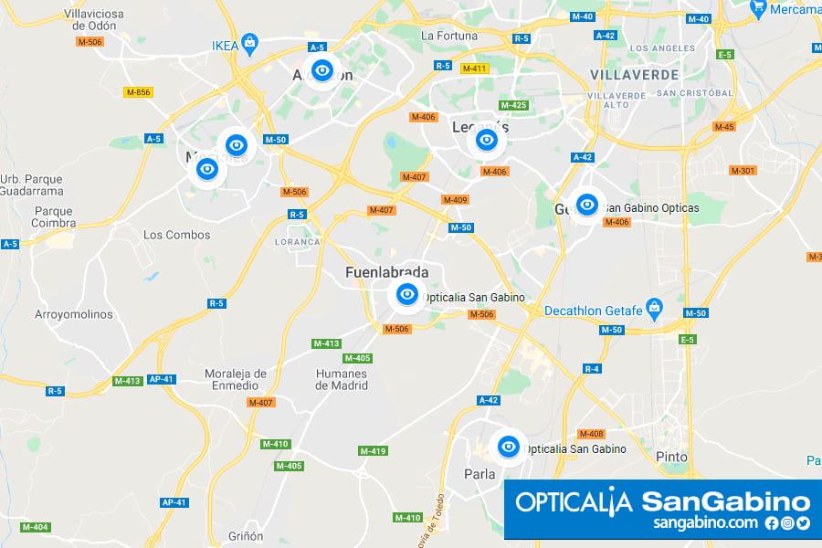 Opticalia San Gabino en la zona sur de Madrid. Aranjuez, Parla, Getafe, Fuenlabrada, Alcorcón y Móstoles